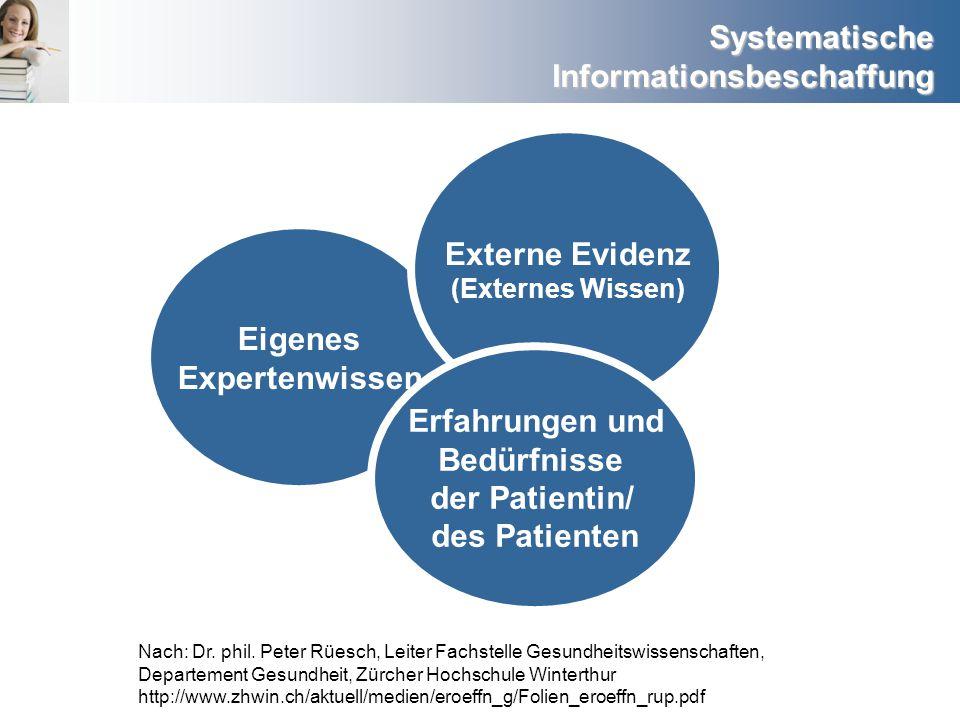 Systematische Informationsbeschaffung Nach: Dr. phil. Peter Rüesch, Leiter Fachstelle Gesundheitswissenschaften, Departement Gesundheit, Zürcher Hochs