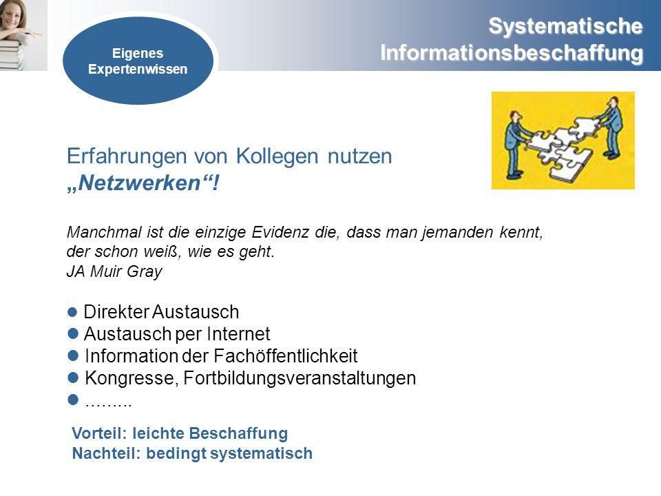 Systematische Informationsbeschaffung Eigenes Expertenwissen Erfahrungen von Kollegen nutzenNetzwerken! Manchmal ist die einzige Evidenz die, dass man