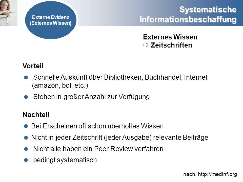 Systematische Informationsbeschaffung Externes Wissen Zeitschriften Vorteil Schnelle Auskunft über Bibliotheken, Buchhandel, Internet (amazon, bol, et