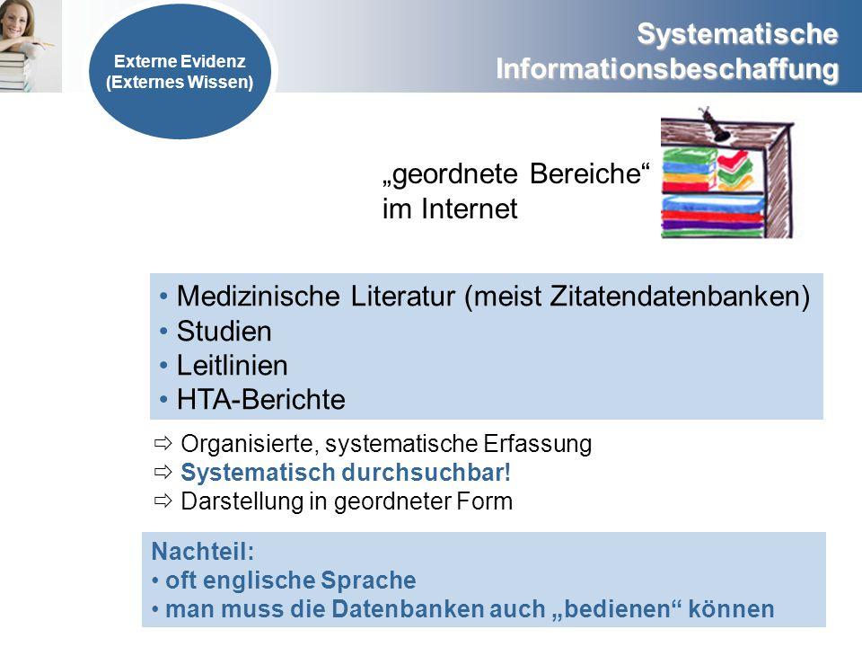 geordnete Bereiche im Internet Medizinische Literatur (meist Zitatendatenbanken) Studien Leitlinien HTA-Berichte Organisierte, systematische Erfassung