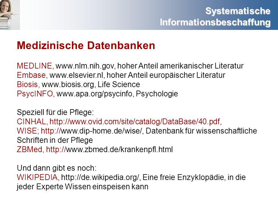 Systematische Informationsbeschaffung Medizinische Datenbanken MEDLINE, www.nlm.nih.gov, hoher Anteil amerikanischer Literatur Embase, www.elsevier.nl