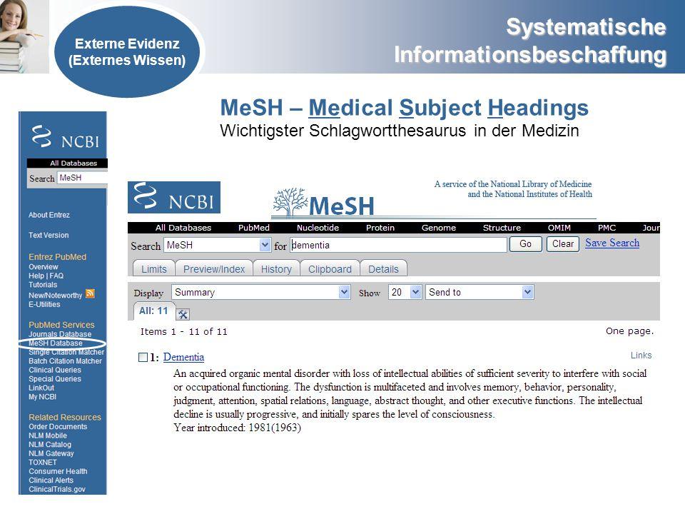 Systematische Informationsbeschaffung Externe Evidenz (Externes Wissen) MeSH – Medical Subject Headings Wichtigster Schlagwortthesaurus in der Medizin