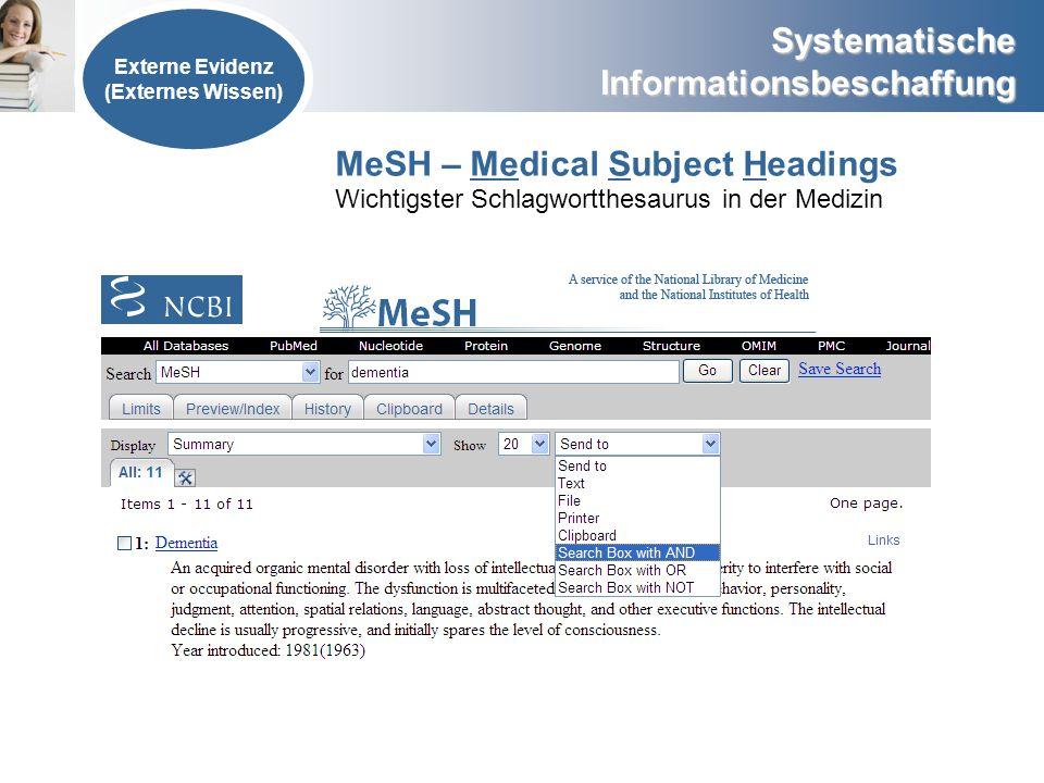 Externe Evidenz (Externes Wissen) MeSH – Medical Subject Headings Wichtigster Schlagwortthesaurus in der Medizin