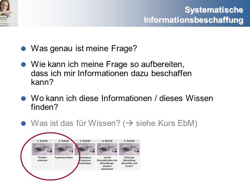 Systematische Informationsbeschaffung Externe Evidenz (Externes Wissen) Newsletter abonnieren http://www.alzheimerinfo.de/aktuelles/news letter/ http://www.deutscher-pflegerat.de/newsletter_archiv.html http://newsletter.ism.rlp.de/cgi-bin/gis_new_reader.pl?dopin+/bc/web.html http://www.barbarawihan.de/content/view/24/49/ http://www.lazarus.at/index.php?content=newsletteranmeldung