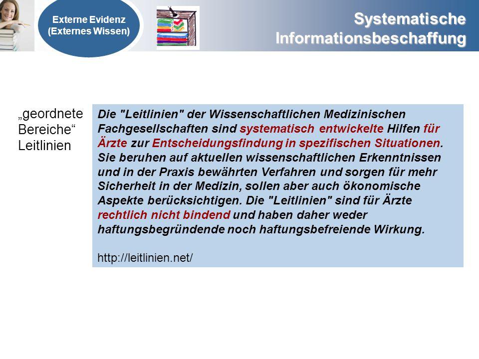 Systematische Informationsbeschaffung Externe Evidenz (Externes Wissen) geordnete Bereiche Leitlinien Die