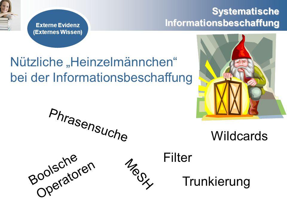 Systematische Informationsbeschaffung Externe Evidenz (Externes Wissen) Boolsche Operatoren MeSH Trunkierung Phrasensuche Wildcards Filter Nützliche H