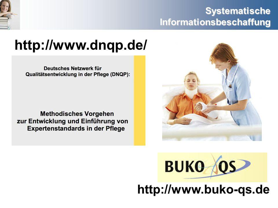 Systematische Informationsbeschaffung http://www.dnqp.de/ http://www.buko-qs.de