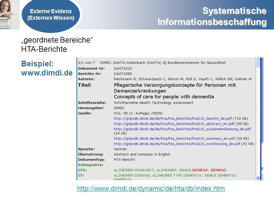 Systematische Informationsbeschaffung Externe Evidenz (Externes Wissen) geordnete Bereiche HTA-Berichte Beispiel: www.dimdi.de http://www.dimdi.de/dyn