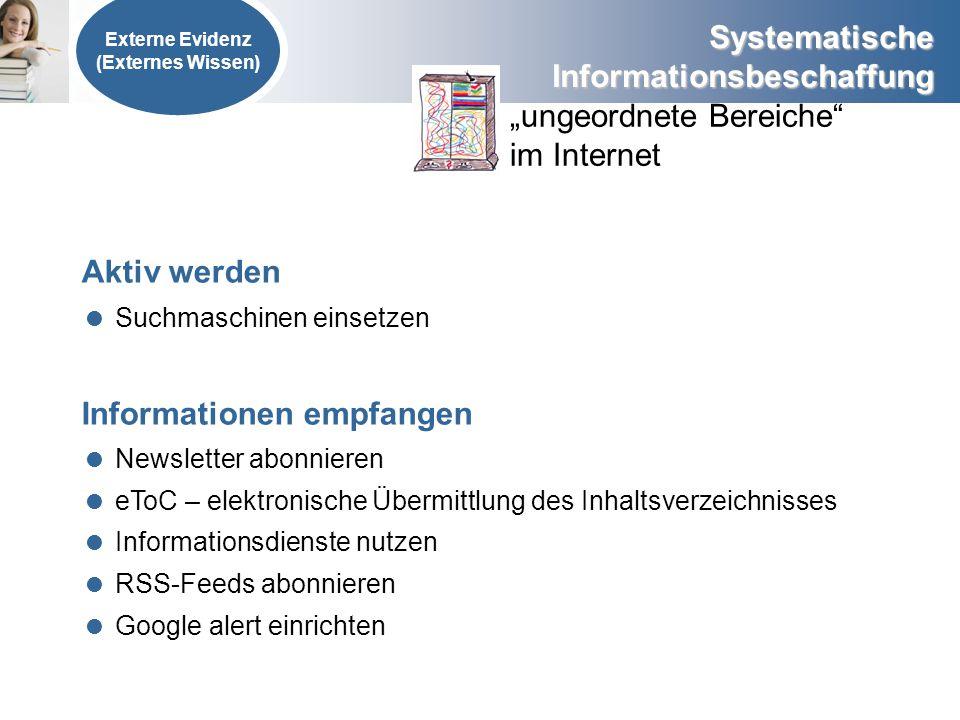 Systematische Informationsbeschaffung Externe Evidenz (Externes Wissen) ungeordnete Bereiche im Internet Aktiv werden Suchmaschinen einsetzen Informat