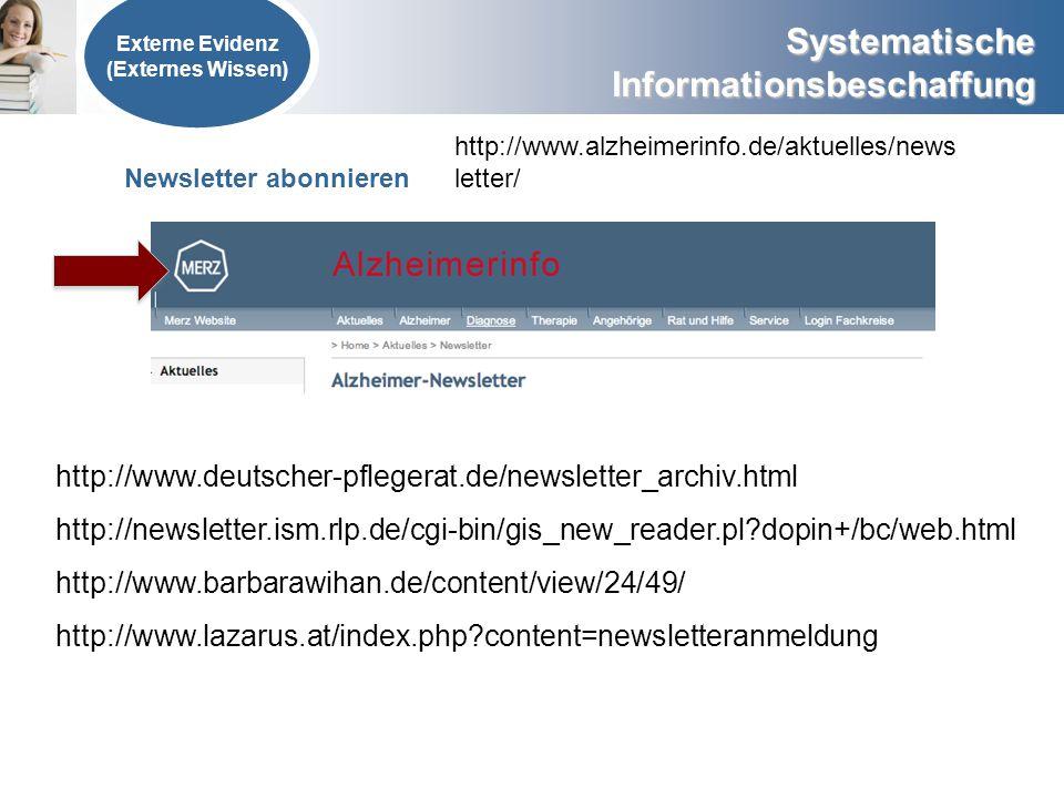 Systematische Informationsbeschaffung Externe Evidenz (Externes Wissen) Newsletter abonnieren http://www.alzheimerinfo.de/aktuelles/news letter/ http: