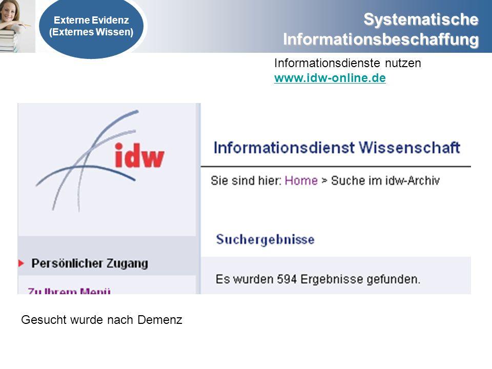 Systematische Informationsbeschaffung Externe Evidenz (Externes Wissen) Informationsdienste nutzen www.idw-online.de Gesucht wurde nach Demenz