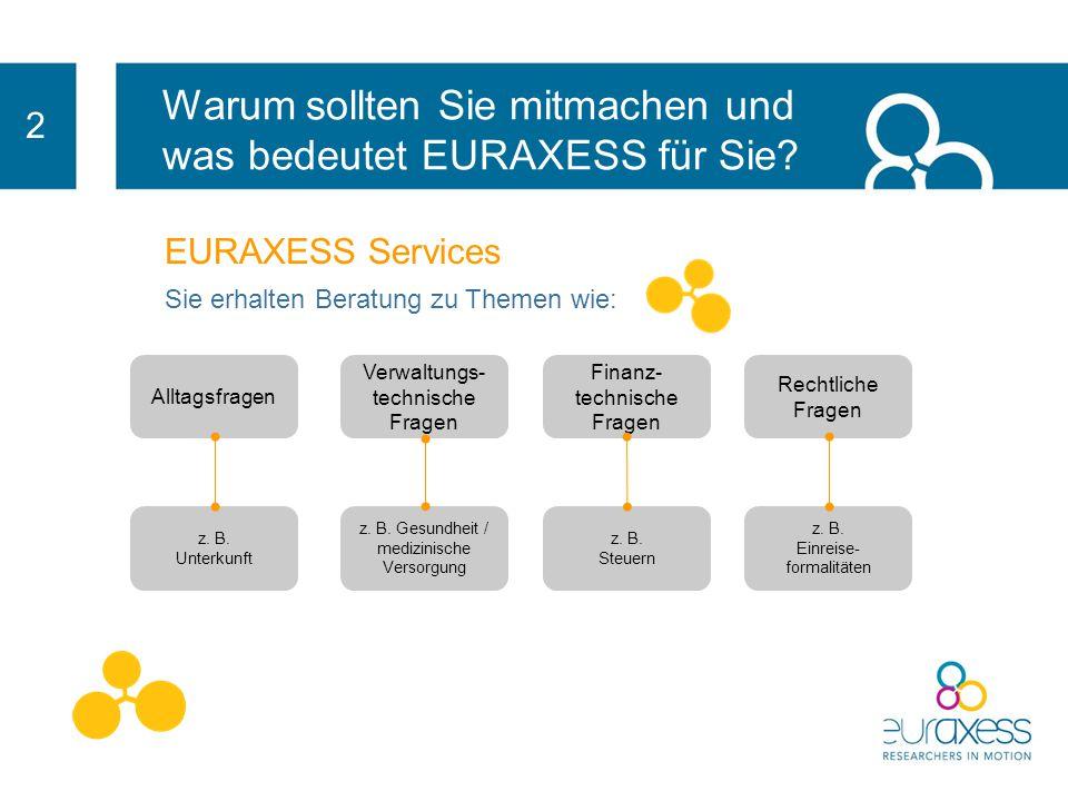 2 EURAXESS Services bietet praktische Informationen, die Ihnen das Leben leichter machen: verwaltungstechnische Fragen rechtliche Fragen Unterstützung