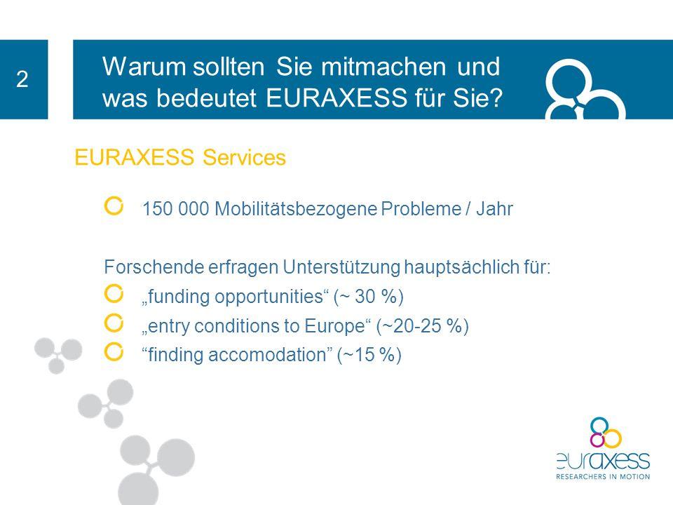 Warum sollten Sie mitmachen und was bedeutet EURAXESS für Sie? 2 EURAXESS Services Sie erhalten Beratung zu Themen wie: z. B. Einreise- formalitäten z