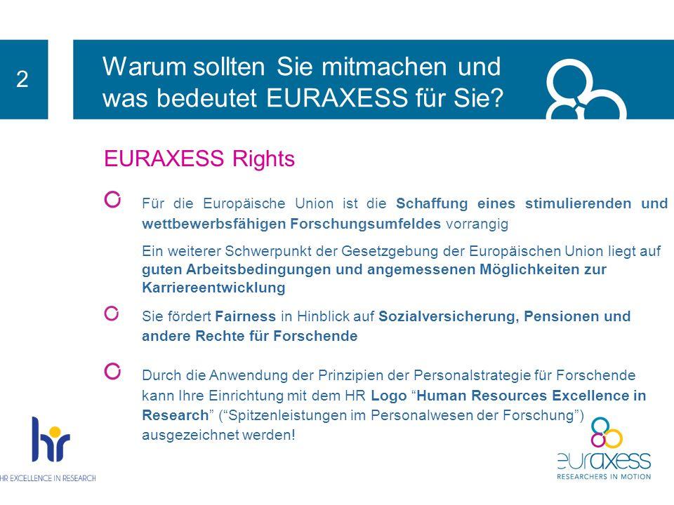 2 EURAXESS Rights Schlüsseldokument: Die Europäische Charta für Forscher und der Verhaltenskodex für ihre Einstellung Empfehlung der Kommission an die