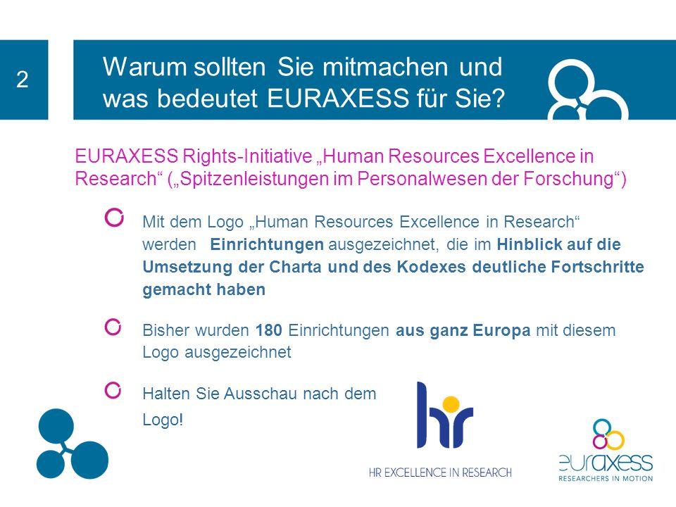 Warum sollten Sie mitmachen und was bedeutet EURAXESS für Sie? 2 EURAXESS Rights Für die Europäische Union ist die Schaffung eines stimulierenden und