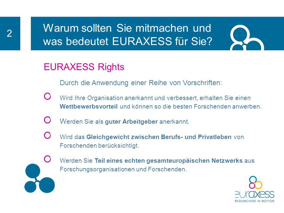 Warum sollten Sie mitmachen und was bedeutet EURAXESS für Sie? 2 EURAXESS Rights-Initiative Human Resources Excellence in Research (Spitzenleistungen