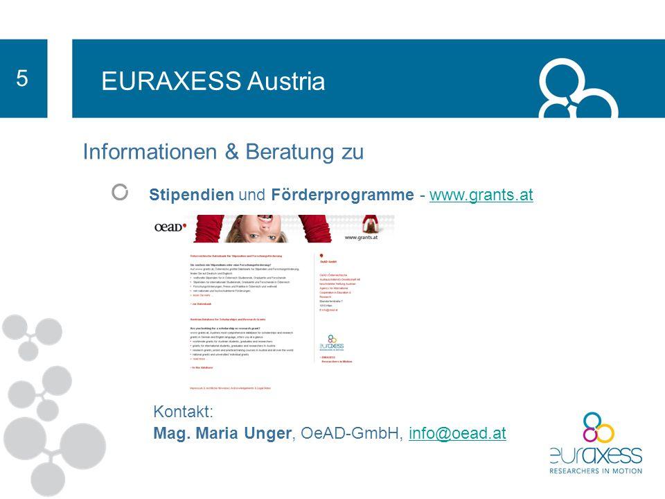 EURAXESS Austria 5 Informationen für Incomings und Outgoings zu Stellenausschreibungen Stipendien und Förderprogramme - www.grants.atwww.grants.at Rec