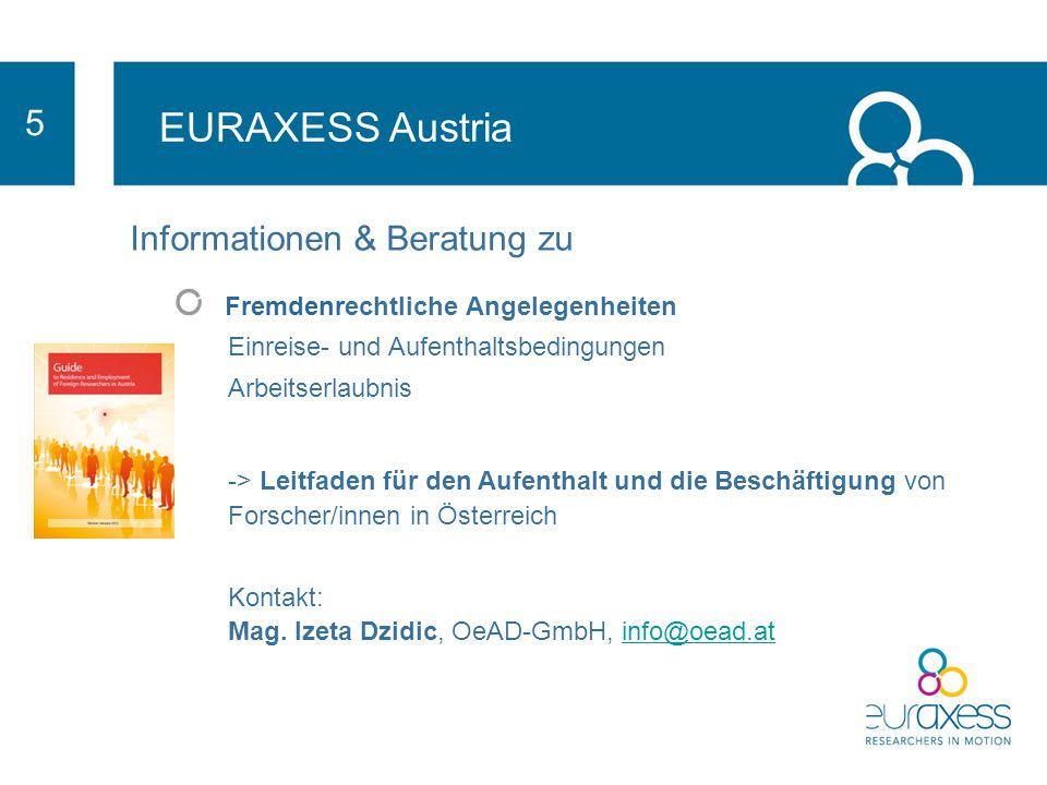EURAXESS Austria 5 Informationen & Beratung zu Stipendien und Förderprogramme - www.grants.atwww.grants.at Kontakt: Mag.
