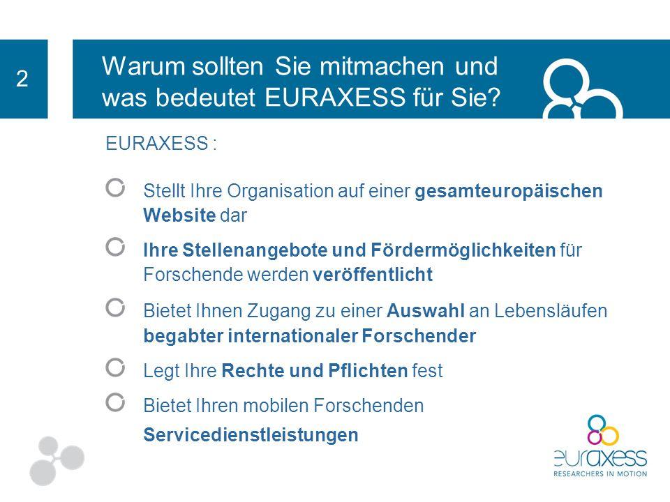Was ist EURAXESS? EURAXESS ist eine, von der Europäischen Kommission gestartete Initiative zur Förderung von Karrieren in der Forschung und zur Erleic