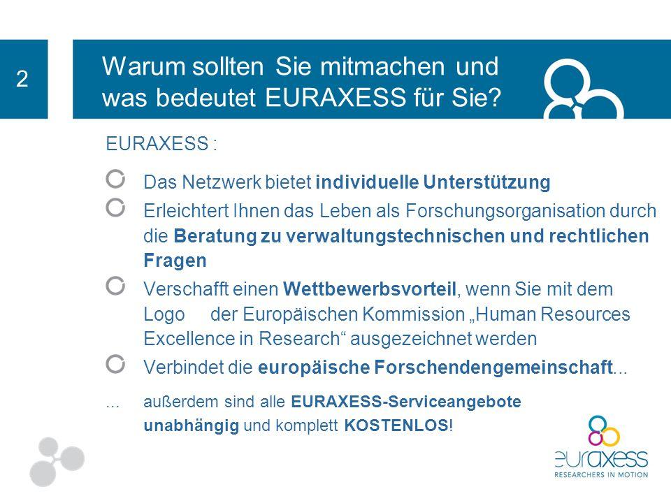 EURAXESS : Stellt Ihre Organisation auf einer gesamteuropäischen Website dar Ihre Stellenangebote und Fördermöglichkeiten für Forschende werden veröff