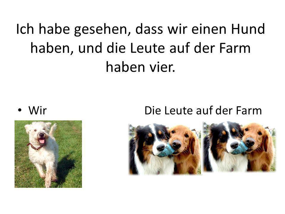 Ich habe gesehen, dass wir einen Hund haben, und die Leute auf der Farm haben vier. Wir Die Leute auf der Farm