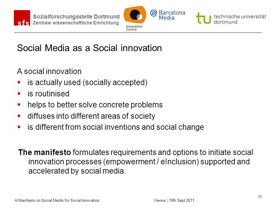 Sozialforschungsstelle Dortmund Zentrale wissenschaftliche Einrichtung A Manifesto on Social Media for Social Innovation Vienna | 19th Sept 2011 15 So