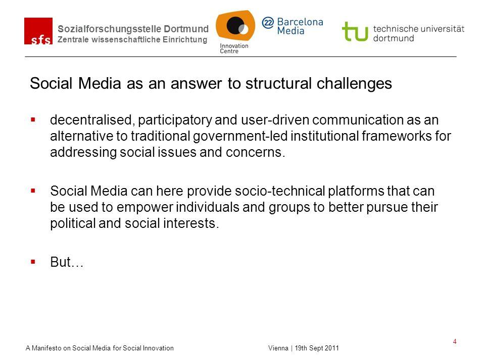 Sozialforschungsstelle Dortmund Zentrale wissenschaftliche Einrichtung A Manifesto on Social Media for Social Innovation Vienna | 19th Sept 2011 4 Soc