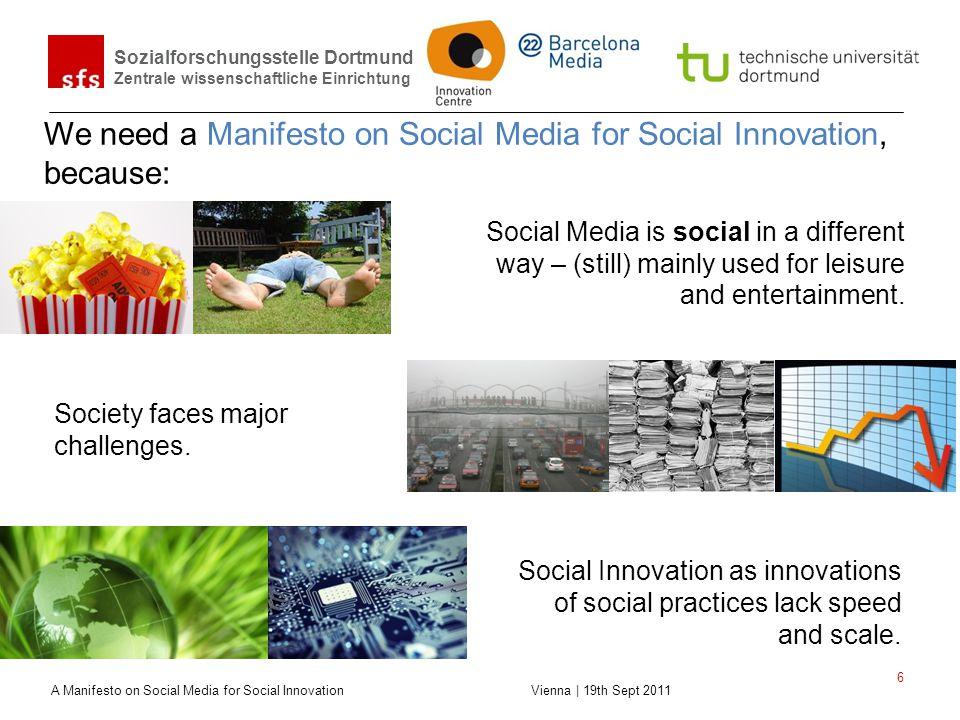 Sozialforschungsstelle Dortmund Zentrale wissenschaftliche Einrichtung A Manifesto on Social Media for Social Innovation Vienna | 19th Sept 2011 6 We