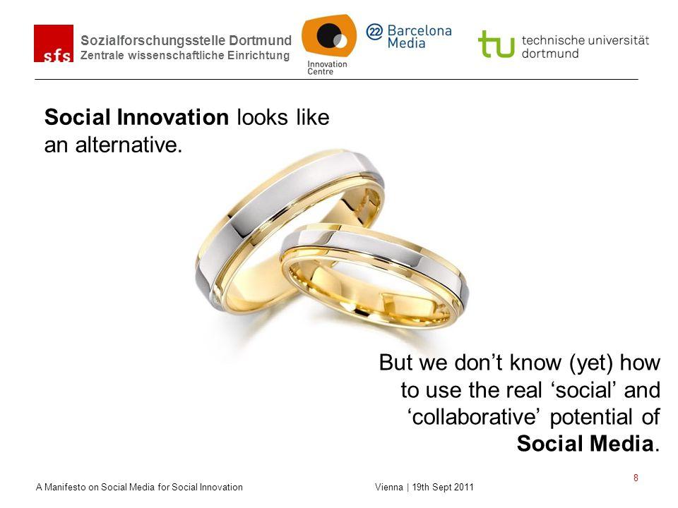 Sozialforschungsstelle Dortmund Zentrale wissenschaftliche Einrichtung A Manifesto on Social Media for Social Innovation Vienna | 19th Sept 2011 8 But