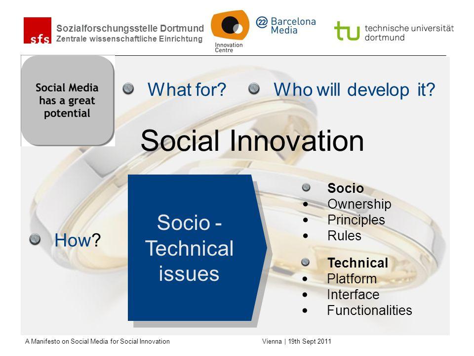 Sozialforschungsstelle Dortmund Zentrale wissenschaftliche Einrichtung A Manifesto on Social Media for Social Innovation Vienna | 19th Sept 2011 What