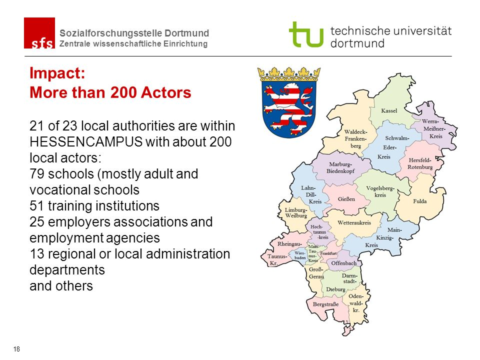 Sozialforschungsstelle Dortmund Zentrale wissenschaftliche Einrichtung 18 21 of 23 local authorities are within HESSENCAMPUS with about 200 local acto