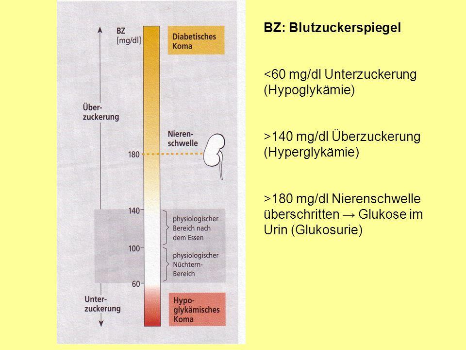 BZ: Blutzuckerspiegel <60 mg/dl Unterzuckerung (Hypoglykämie) >140 mg/dl Überzuckerung (Hyperglykämie) >180 mg/dl Nierenschwelle überschritten Glukose