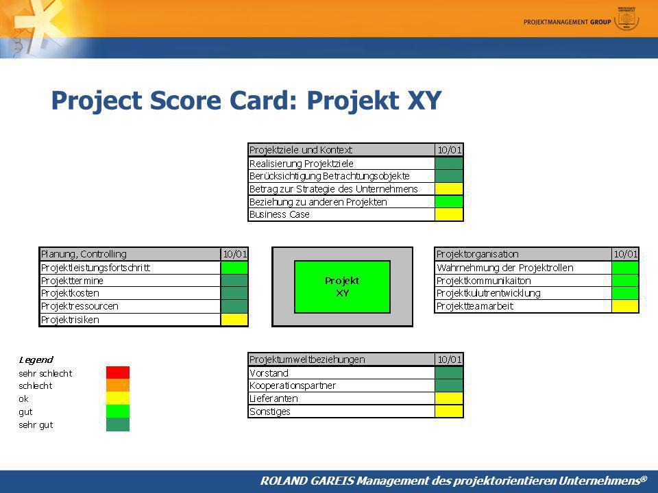 ROLAND GAREIS Management des projektorientieren Unternehmens ® Project Score Card: Projekt XY