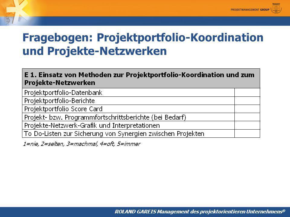 ROLAND GAREIS Management des projektorientieren Unternehmens ® Fragebogen: Projektportfolio-Koordination und Projekte-Netzwerken 1=nie, 2=selten, 3=machmal, 4=oft, 5=immer