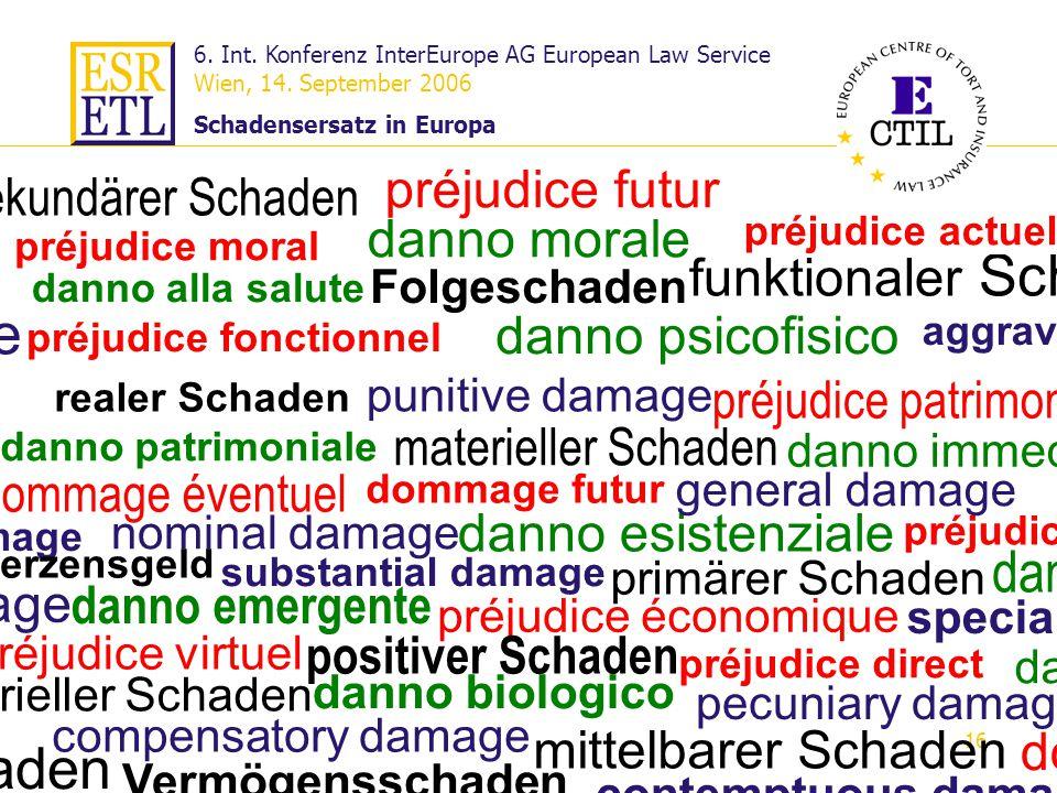 6. Int. Konferenz InterEurope AG European Law Service Wien, 14. September 2006 Schadensersatz in Europa 16 Definition der Körperverletzung Körperverle