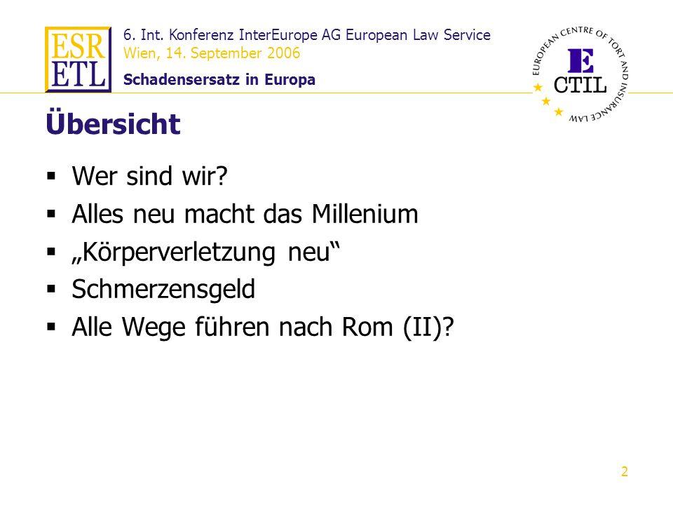 6. Int. Konferenz InterEurope AG European Law Service Wien, 14. September 2006 Schadensersatz in Europa 2 Übersicht Wer sind wir? Alles neu macht das