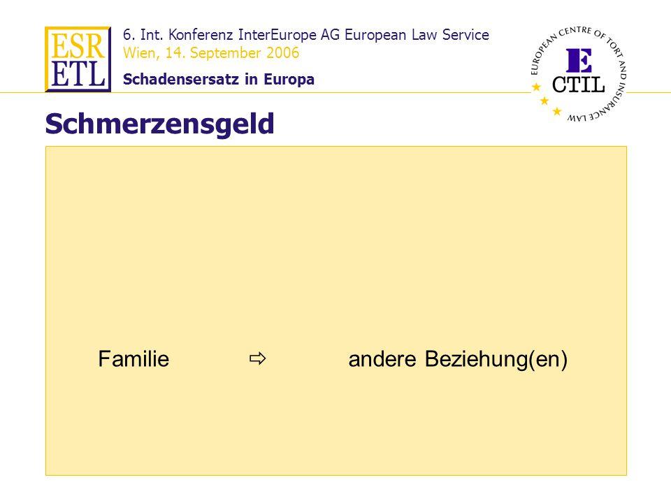 6. Int. Konferenz InterEurope AG European Law Service Wien, 14. September 2006 Schadensersatz in Europa 22 Familie Schmerzensgeld andere Beziehung(en)