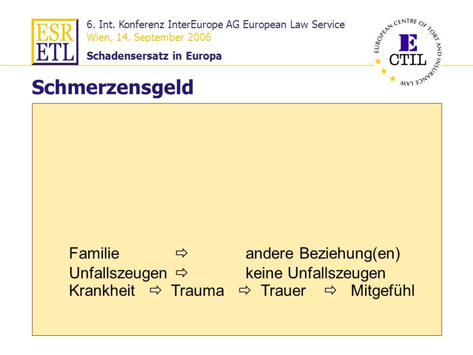 6. Int. Konferenz InterEurope AG European Law Service Wien, 14. September 2006 Schadensersatz in Europa 23 Familie Schmerzensgeld Krankheit Trauma Tra