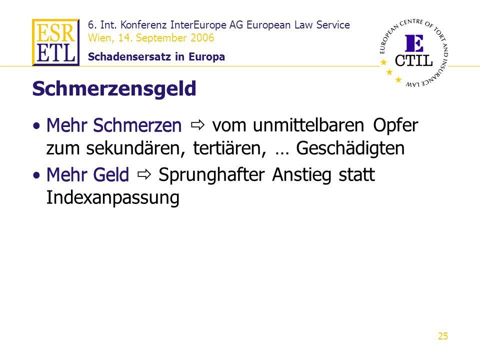 6. Int. Konferenz InterEurope AG European Law Service Wien, 14. September 2006 Schadensersatz in Europa 25 Mehr Schmerzen vom unmittelbaren Opfer zum