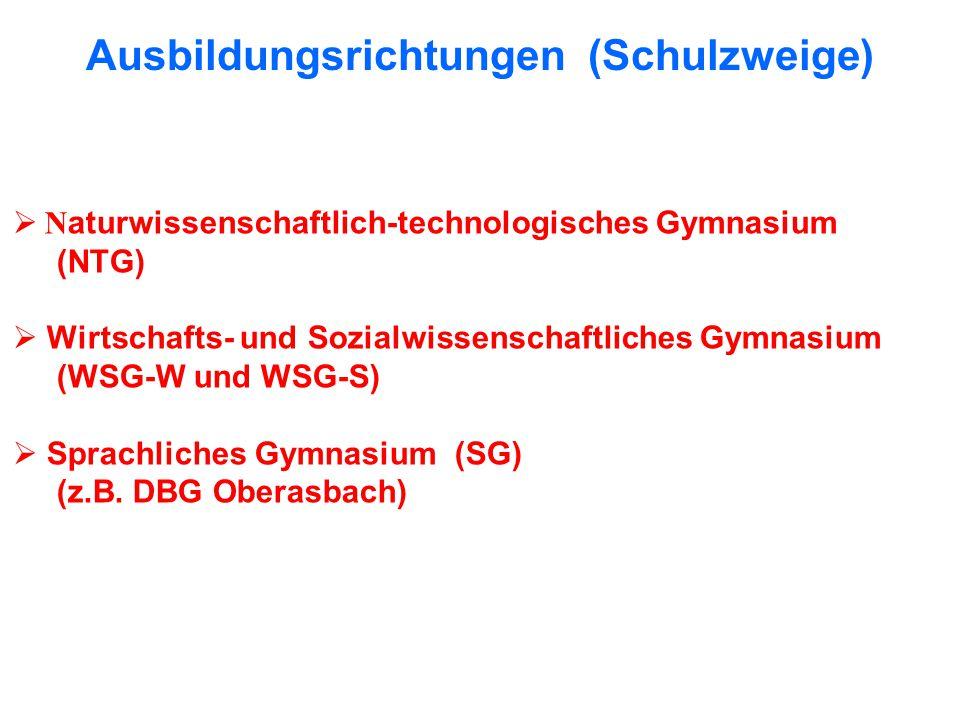Ausbildungsrichtungen (Schulzweige) N aturwissenschaftlich-technologisches Gymnasium (NTG) Wirtschafts- und Sozialwissenschaftliches Gymnasium (WSG-W und WSG-S) Sprachliches Gymnasium (SG) (z.B.