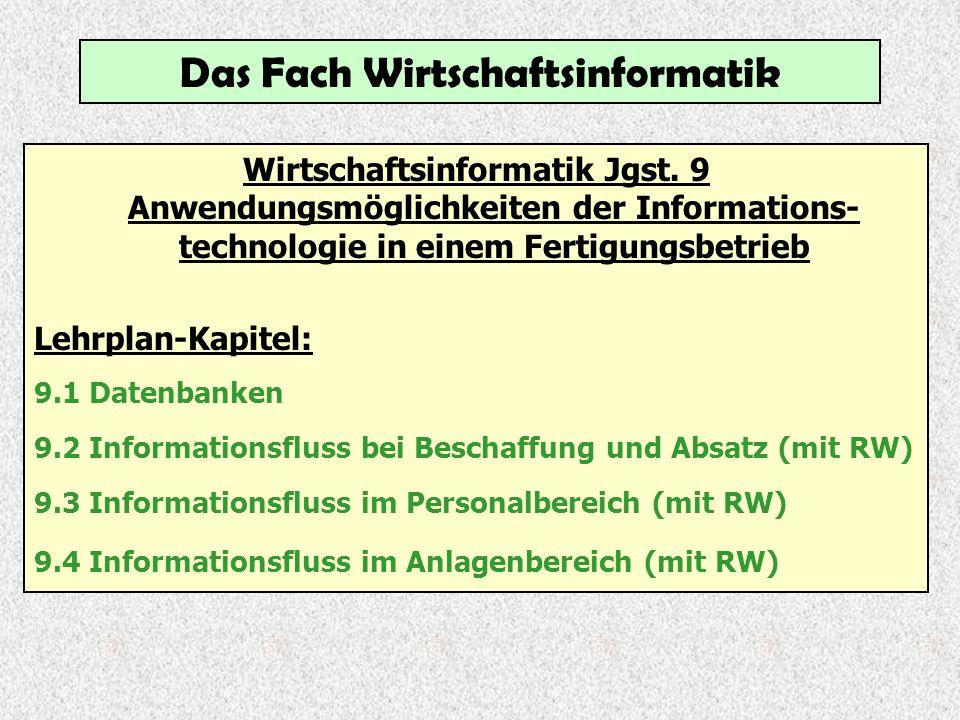Das Fach Wirtschaftsinformatik Wirtschaftsinformatik Jgst. 9 Anwendungsmöglichkeiten der Informations- technologie in einem Fertigungsbetrieb Lehrplan