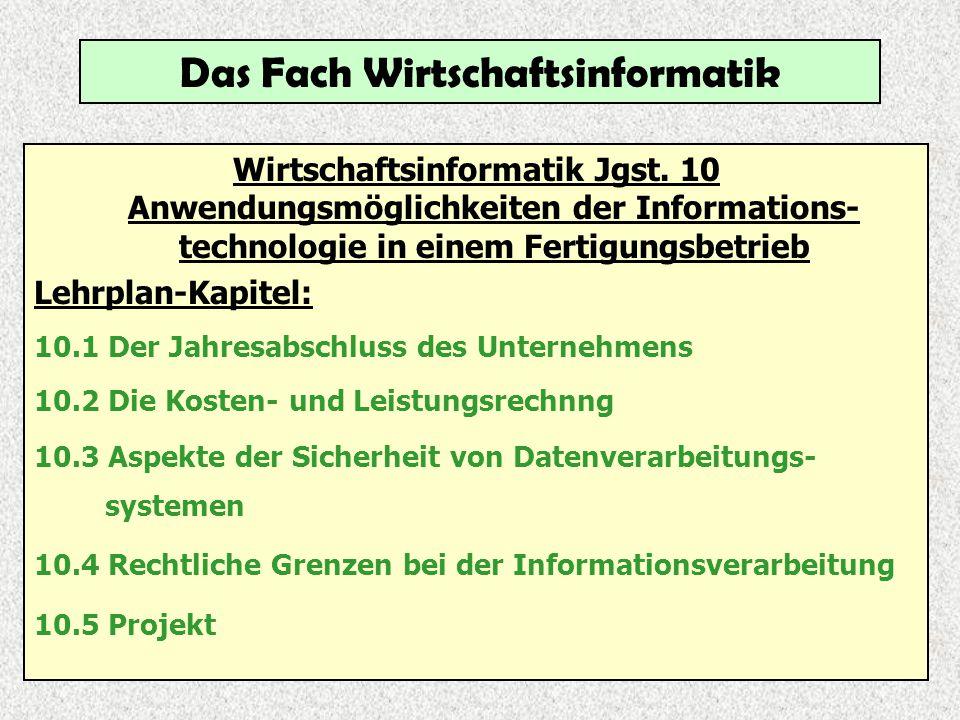 Das Fach Wirtschaftsinformatik Wirtschaftsinformatik Jgst. 10 Anwendungsmöglichkeiten der Informations- technologie in einem Fertigungsbetrieb Lehrpla