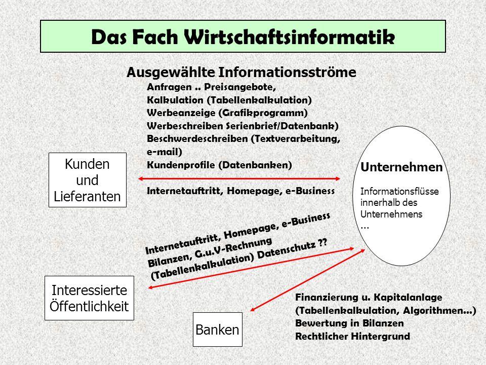 Das Fach Wirtschaftsinformatik Wirtschaftsinformatik Jgst.