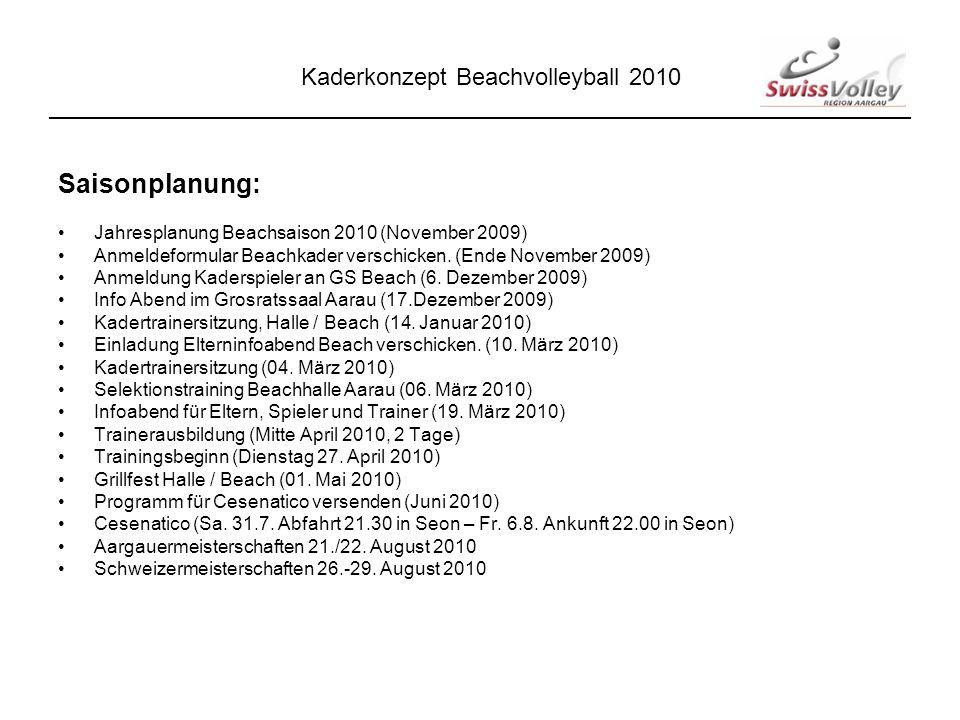 Saisonplanung: Jahresplanung Beachsaison 2010 (November 2009) Anmeldeformular Beachkader verschicken.
