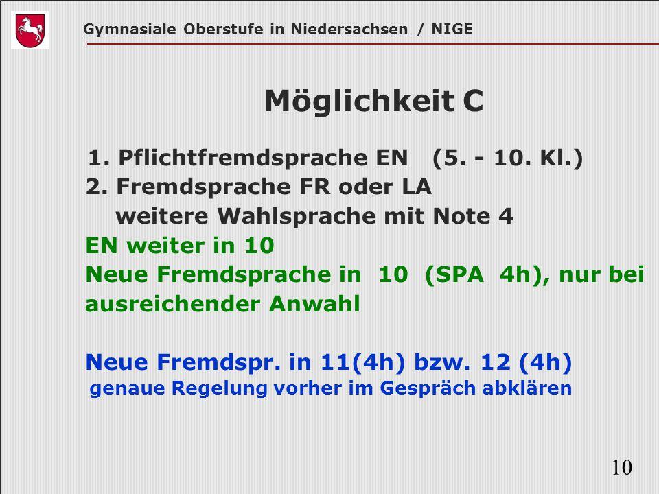 Gymnasiale Oberstufe in Niedersachsen / NIGE 10 Möglichkeit C 1. Pflichtfremdsprache EN (5. - 10. Kl.) 2. Fremdsprache FR oder LA weitere Wahlsprache
