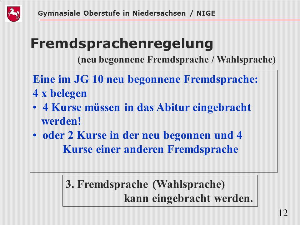 Gymnasiale Oberstufe in Niedersachsen / NIGE 12 Fremdsprachenregelung Eine im JG 10 neu begonnene Fremdsprache: 4 x belegen 4 Kurse müssen in das Abit