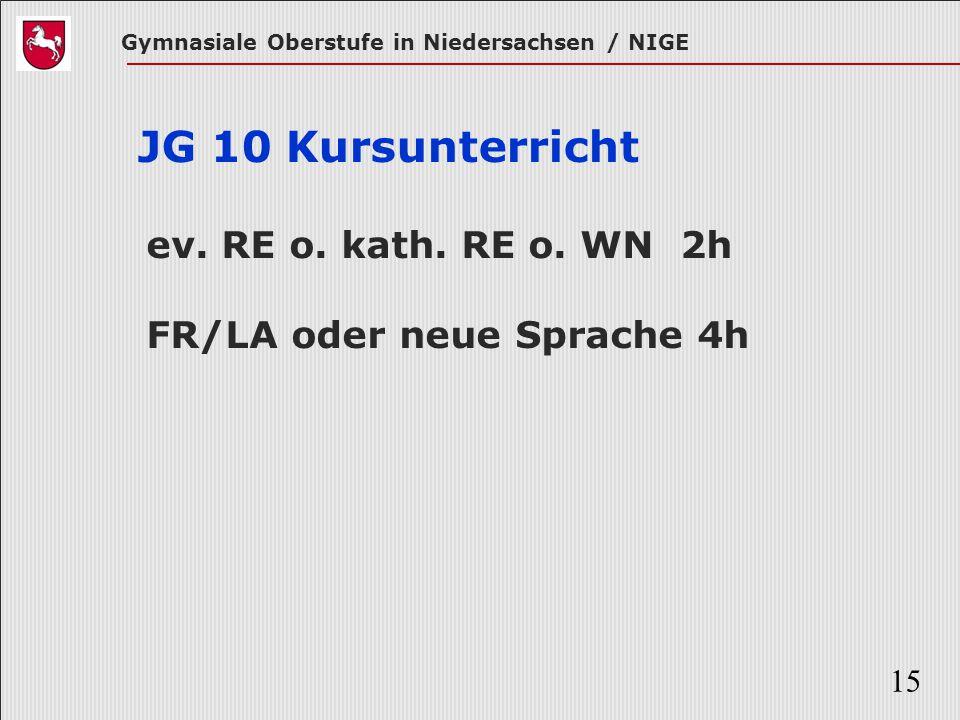 Gymnasiale Oberstufe in Niedersachsen / NIGE 15 JG 10 Kursunterricht ev. RE o. kath. RE o. WN 2h FR/LA oder neue Sprache 4h