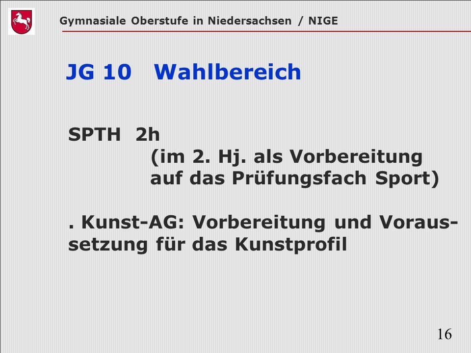 Gymnasiale Oberstufe in Niedersachsen / NIGE 16 JG 10 Wahlbereich SPTH 2h (im 2. Hj. als Vorbereitung auf das Prüfungsfach Sport). Kunst-AG: Vorbereit