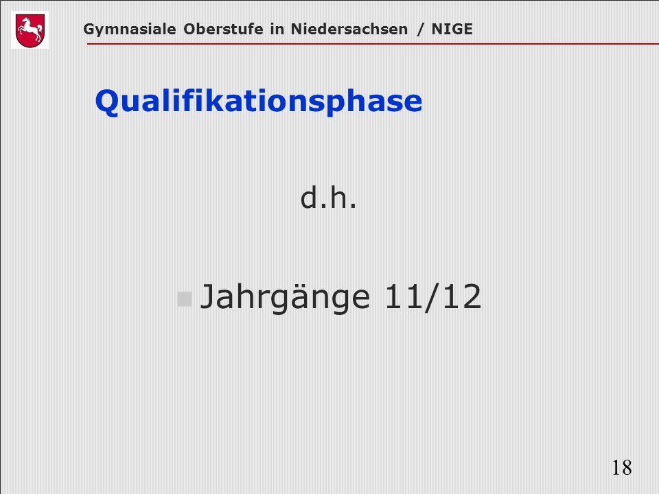 Gymnasiale Oberstufe in Niedersachsen / NIGE 18 Qualifikationsphase d.h. Jahrgänge 11/12