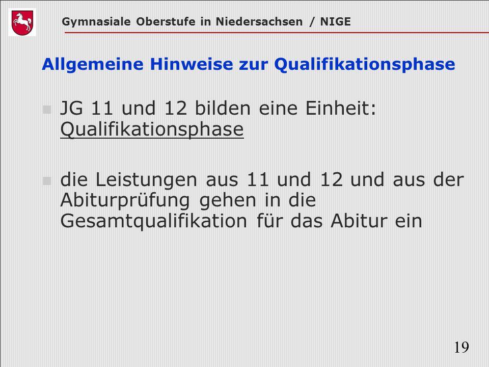 Gymnasiale Oberstufe in Niedersachsen / NIGE 19 Allgemeine Hinweise zur Qualifikationsphase JG 11 und 12 bilden eine Einheit: Qualifikationsphase die